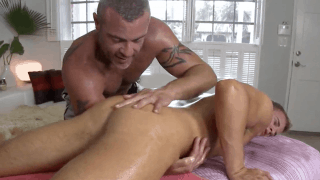 Step son get dirty massage from dad wet fingers