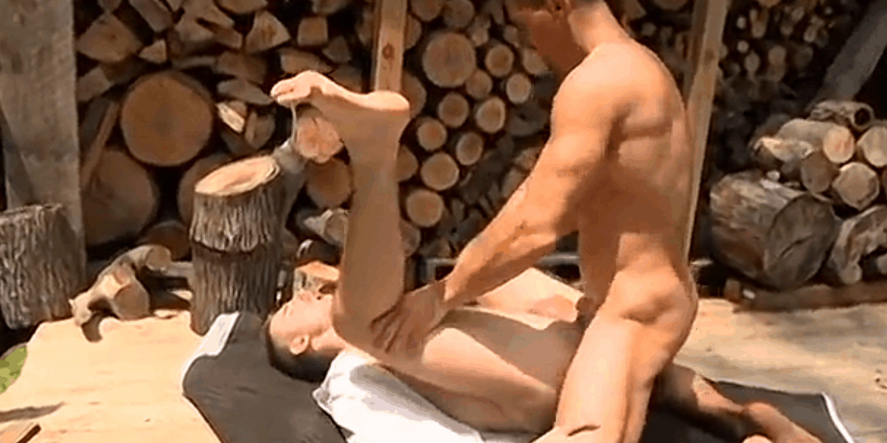 Two friends fuck in the cabin woods in nature