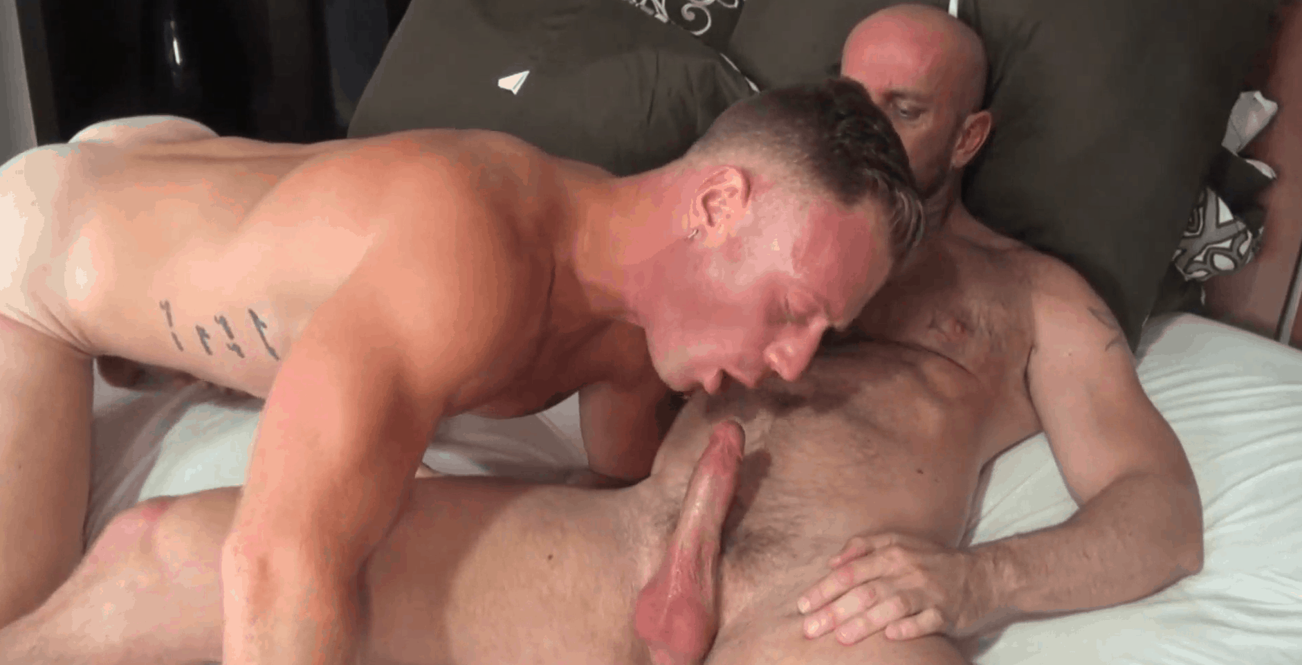 Deepthroat blowjob of young gay twink in bed
