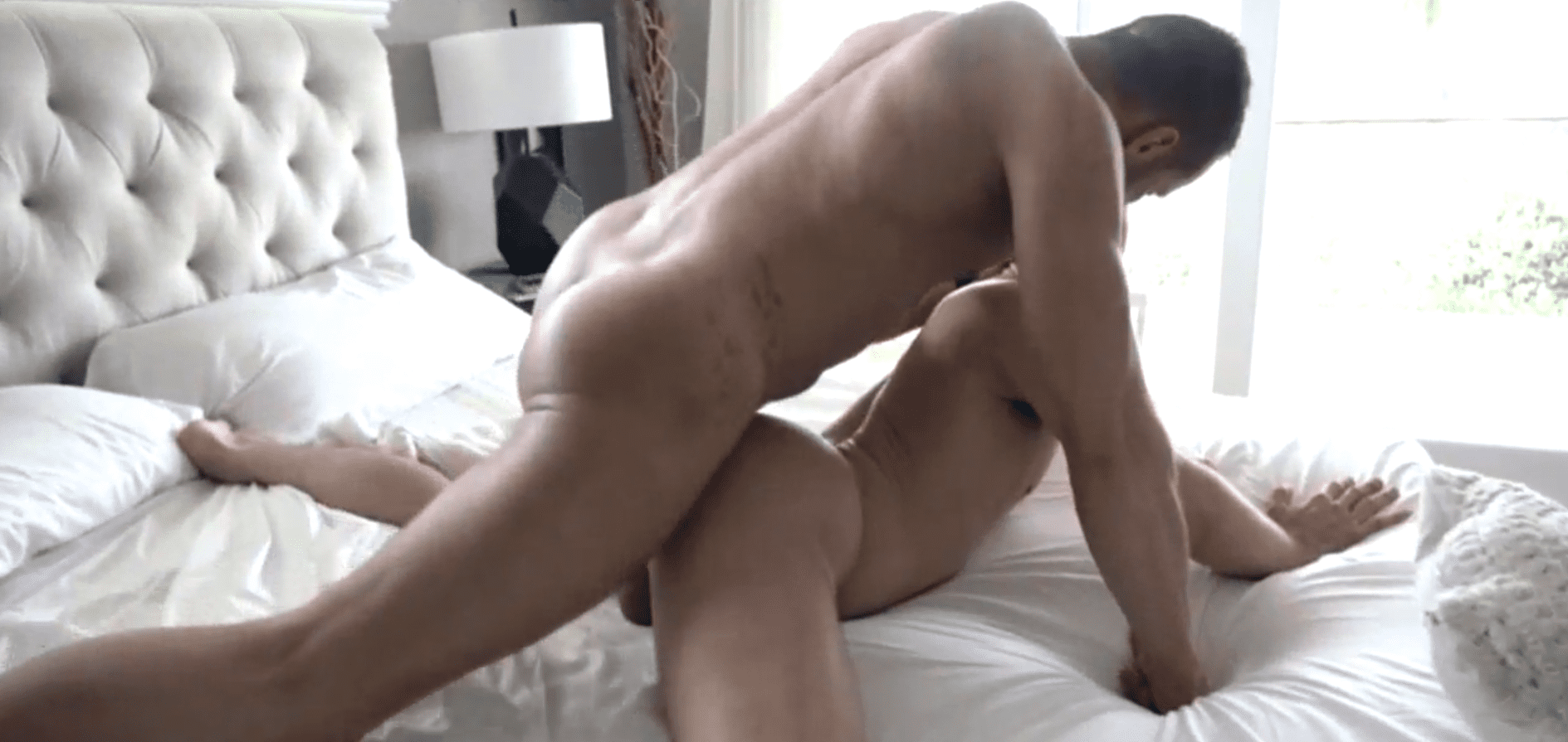 Muscled daddy put his dick into ass of his step son